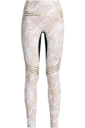 LUCAS HUGH Mesh-paneled printed stretch leggings