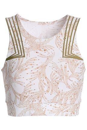 LUCAS HUGH Cropped printed stretch-jersey tank