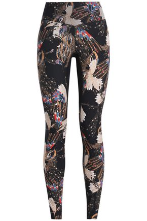 LUCAS HUGH Mesh-trimmed printed stretch leggings