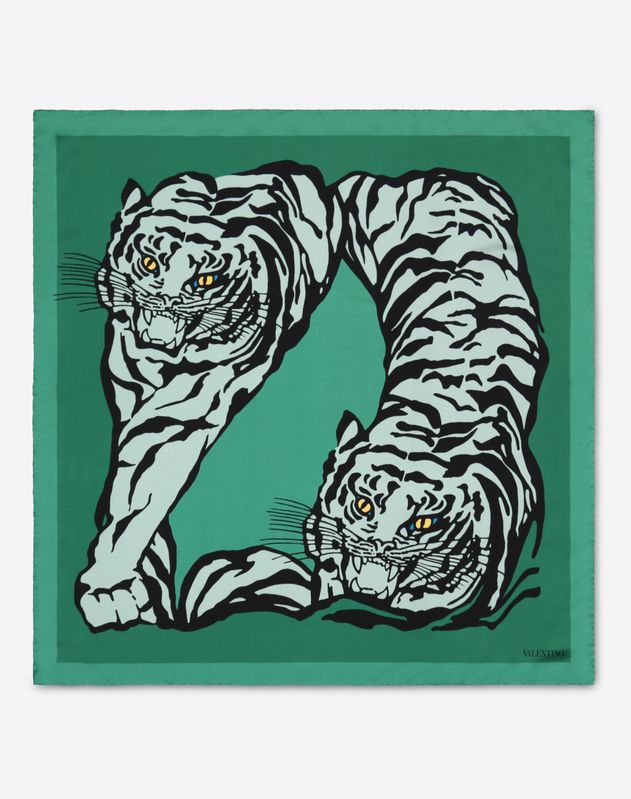 90x90 cm silk twill scarf with TIGER RE-EDITION 1967 print