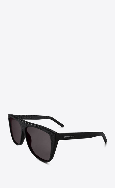 SAINT LAURENT NEW WAVE E New Wave 1 black crocodile-effect leather sunglasses b_V4