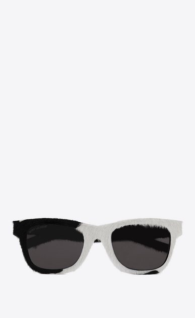 SAINT LAURENT CLASSIC E Classic 51 black and white calfskin sunglasses a_V4