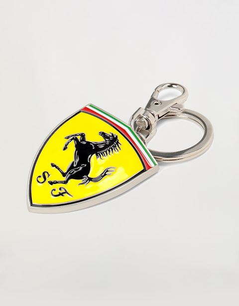 Shield shaped metal keyring