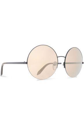 VICTORIA BECKHAM Supra round-frame gunmetal-tone mirrored sunglasses
