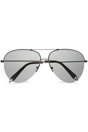VICTORIA BECKHAM Classic Victoria aviator-style gunmetal-tone and acetate sunglasses