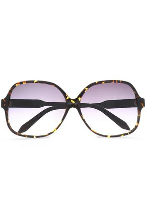 VICTORIA BECKHAM Square-frame tortoiseshell acetate and gold-tone sunglasses