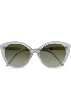 WOMAN CAT-EYE ACETATE SUNGLASSES LIGHT GRAY