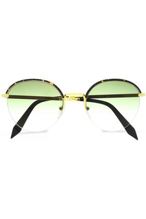 VICTORIA BECKHAM Windsor round-frame tortoiseshell acetate and gold-tone sunglasses