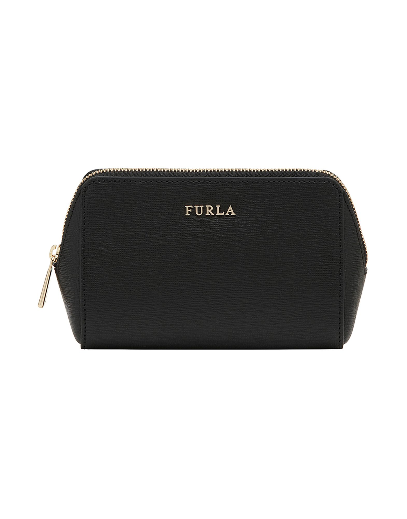 FURLA Beauty case beauty artisan classic black textured pattern aluminum makeup organizer train case