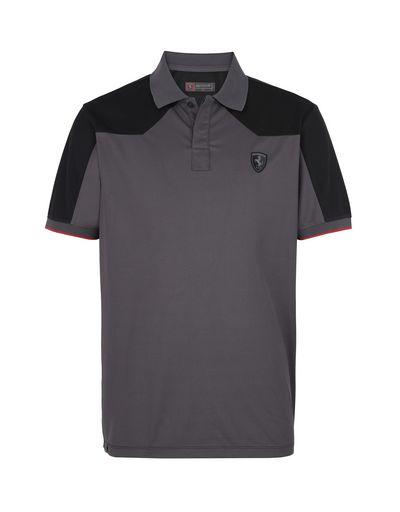 Scuderia Ferrari Online Store - Men's short-sleeved polo shirt in technical cotton piquet - Short Sleeve Polos