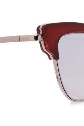 LE SPECS Cat-eye acetate and silver-tone sunglasses