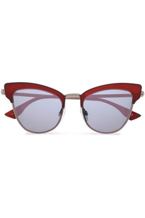 LE SPECS Cat-eye acetate and silver-tone sunglasses