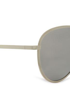 LE SPECS Aviator-style silver-tone mirrored sunglasses