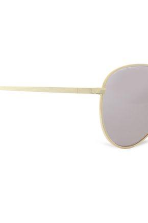 LE SPECS Aviator-style gold-tone mirrored sunglasses