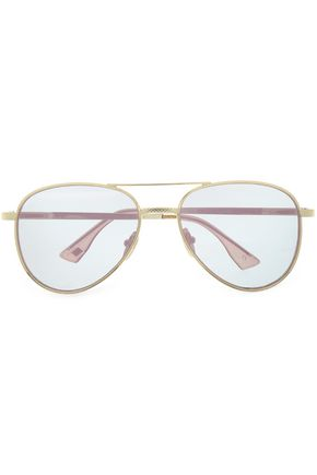 LE SPECS Aviator-style gold-tone mirrored sunglasses