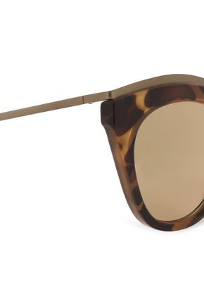 LE SPECS Cat-eye tortoiseshell acetate and metal sunglasses