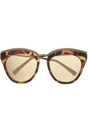 LE SPECS Cat-eye tortoiseshell acetate and metal sunglasses