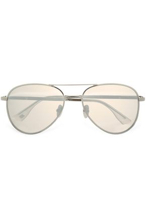 LE SPECS Aviator-style silver-tone mirrored sunglasses