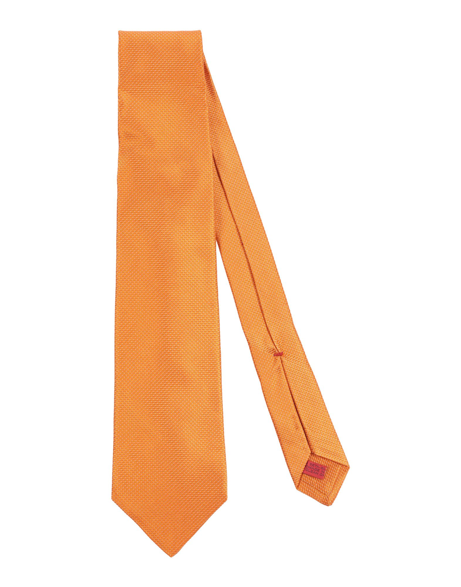 《送料無料》ISAIA メンズ ネクタイ オレンジ シルク 100%