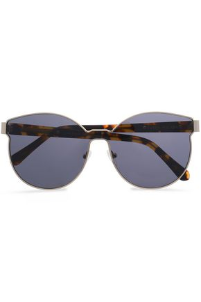 KAREN WALKER Round-frame silver-tone and tortoiseshell acetate sunglasses