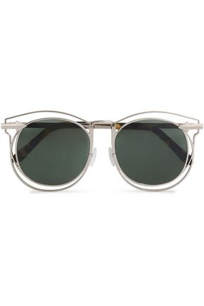 KAREN WALKER D-frame gold-tone and tortoiseshell acetate sunglasses