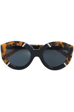 KAREN WALKER Cat-eye tortoiseshell acetate and gold-tone sunglasses
