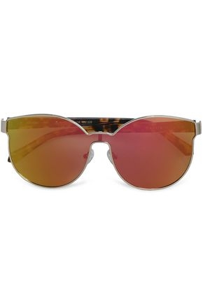 KAREN WALKER D-frame tortoiseshell acetate and gold-tone mirrored sunglasses