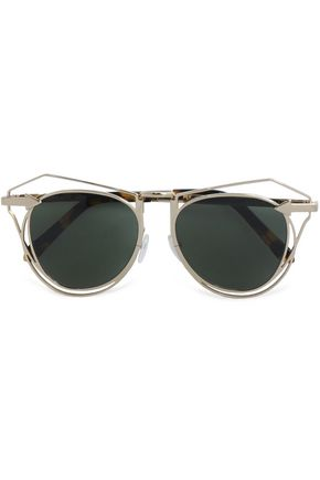KAREN WALKER Aviator-style tortoiseshell acetate and gold-tone sunglasses