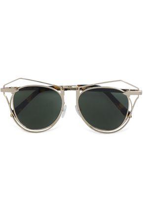 KAREN WALKER Aviator-style tortoiseshell acetate and gold-tone sunglasses
