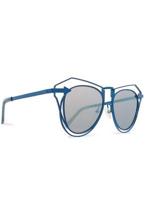 KAREN WALKER Aviator-style metal mirrored sunglasses