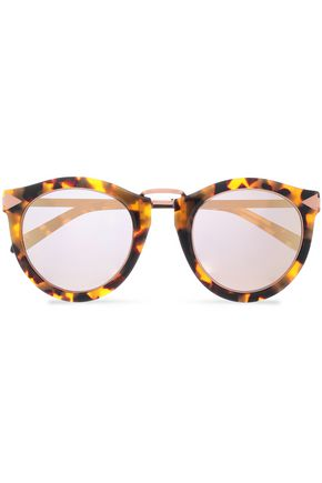 KAREN WALKER Round-frame tortoiseshell acetate and rose gold-tone sunglasses