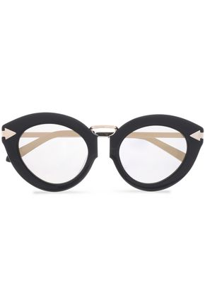 KAREN WALKER Cat-eye acetate and gold-tone sunglasses