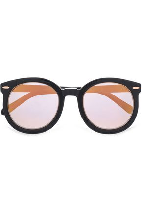 KAREN WALKER Round-frame acetate and rose gold-tone sunglasses