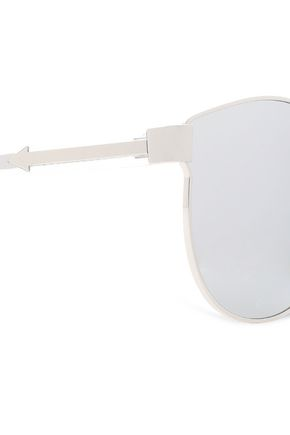 KAREN WALKER D-frame silver-tone and acetate sunglasses