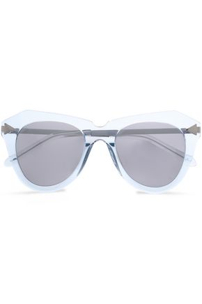 KAREN WALKER D-frmae acetate and silver-tone mirrored sunglasses