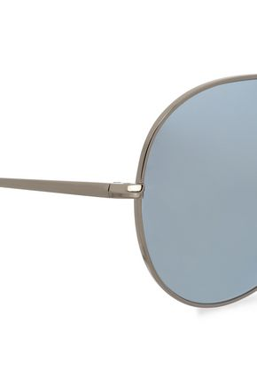 OLIVER PEOPLES Aviator-style silver-tone sunglasses