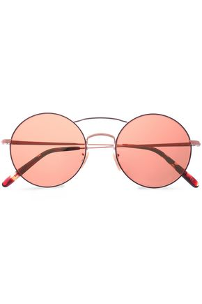 OLIVER PEOPLES Round-frame rose gold-tone sunglasses