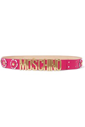 MOSCHINO Appliquéd leather belt