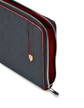 Scuderia Ferrari Online Store - Flat clutch in Saffiano leather - Pouches & Envelopes