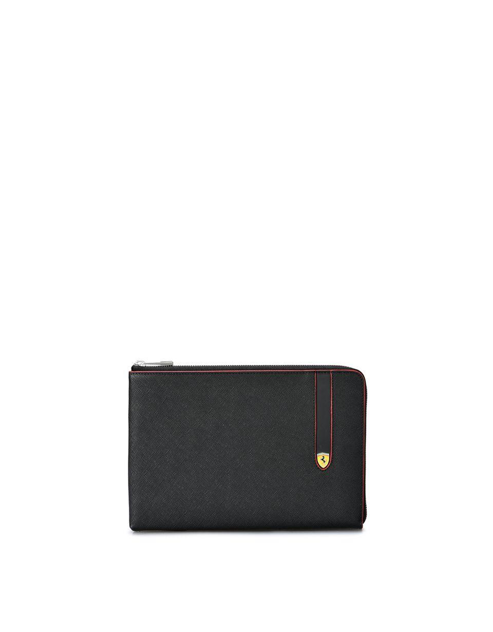 Scuderia Ferrari Online Store - Flat Saffiano clutch - Pouches & Envelopes
