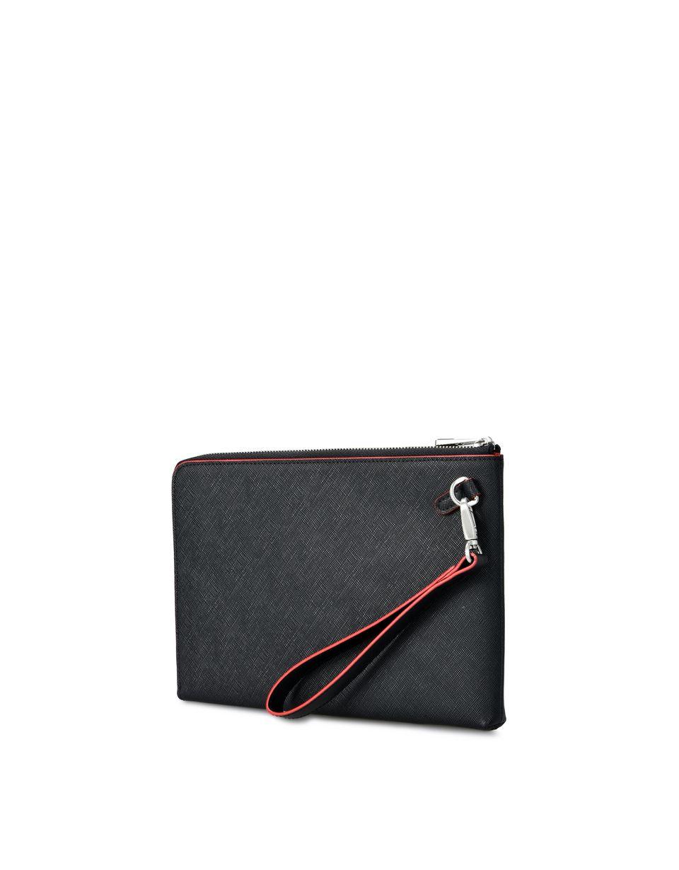 Scuderia Ferrari Online Store - Flat clutch in Saffiano leather -