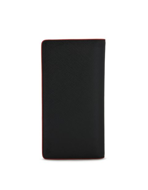 Saffiano leather vertical bi-fold wallet
