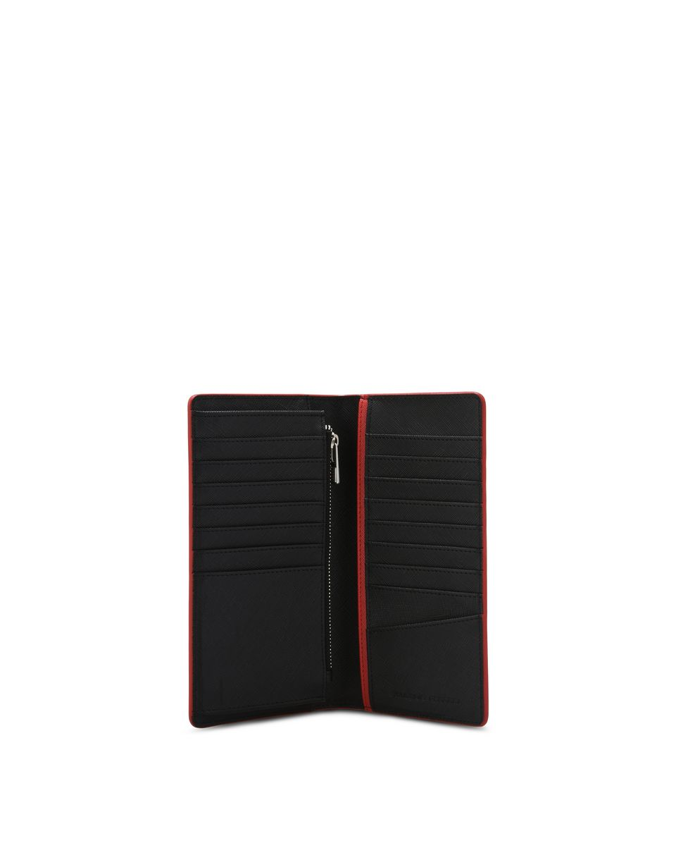 Scuderia Ferrari Online Store - Saffiano leather vertical bi-fold wallet - Vertical Wallets
