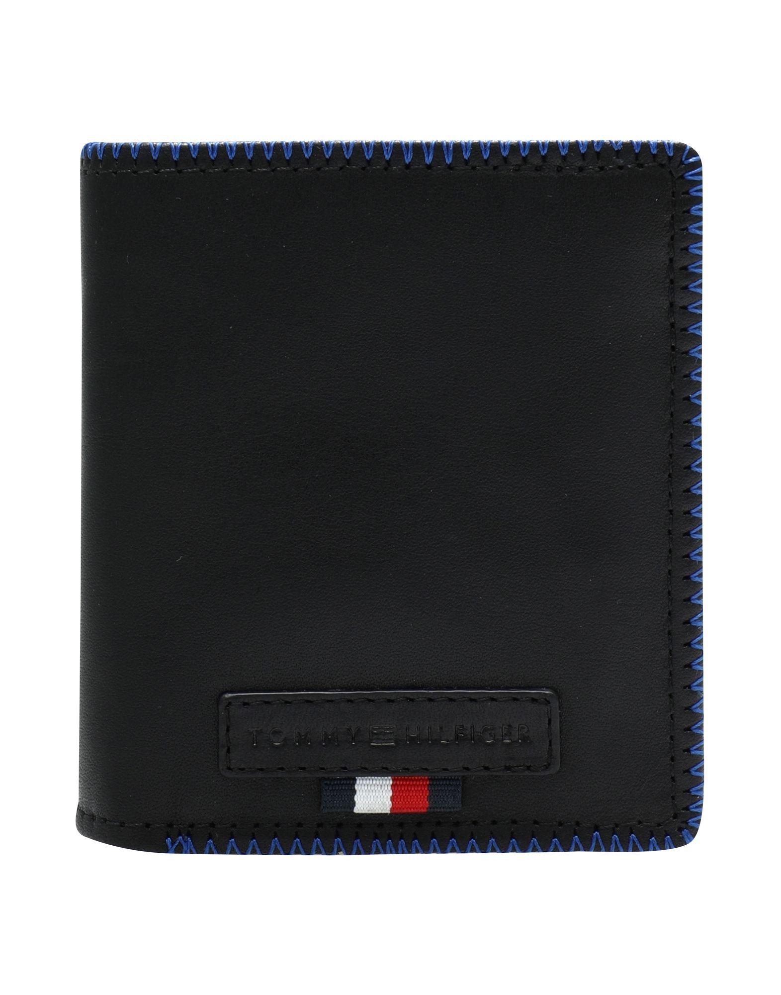 《送料無料》TOMMY HILFIGER メンズ 財布 ブラック 牛革 100% EDGE STITCH NS TRIFO, 002, OS