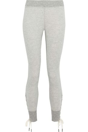 n:PHILANTROPY Marta lace-up mélange cotton-blend jersey leggings