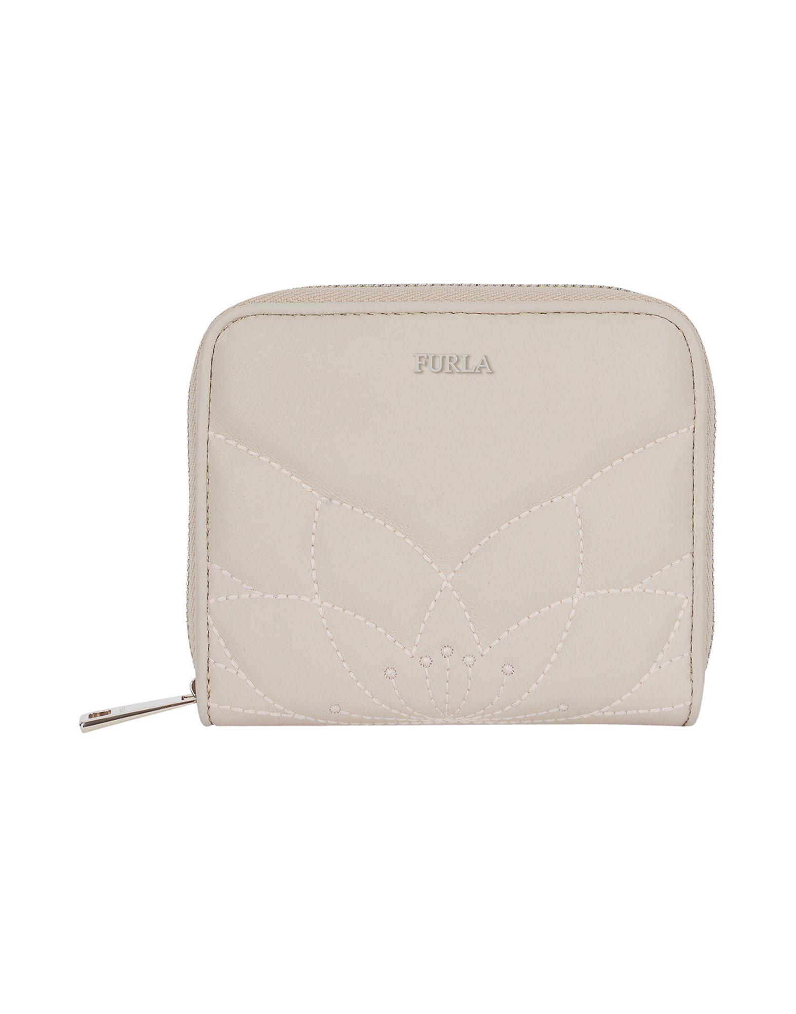 《送料無料》FURLA レディース 財布 ライトグレー 革 100% MALVA S ZIP AROUND