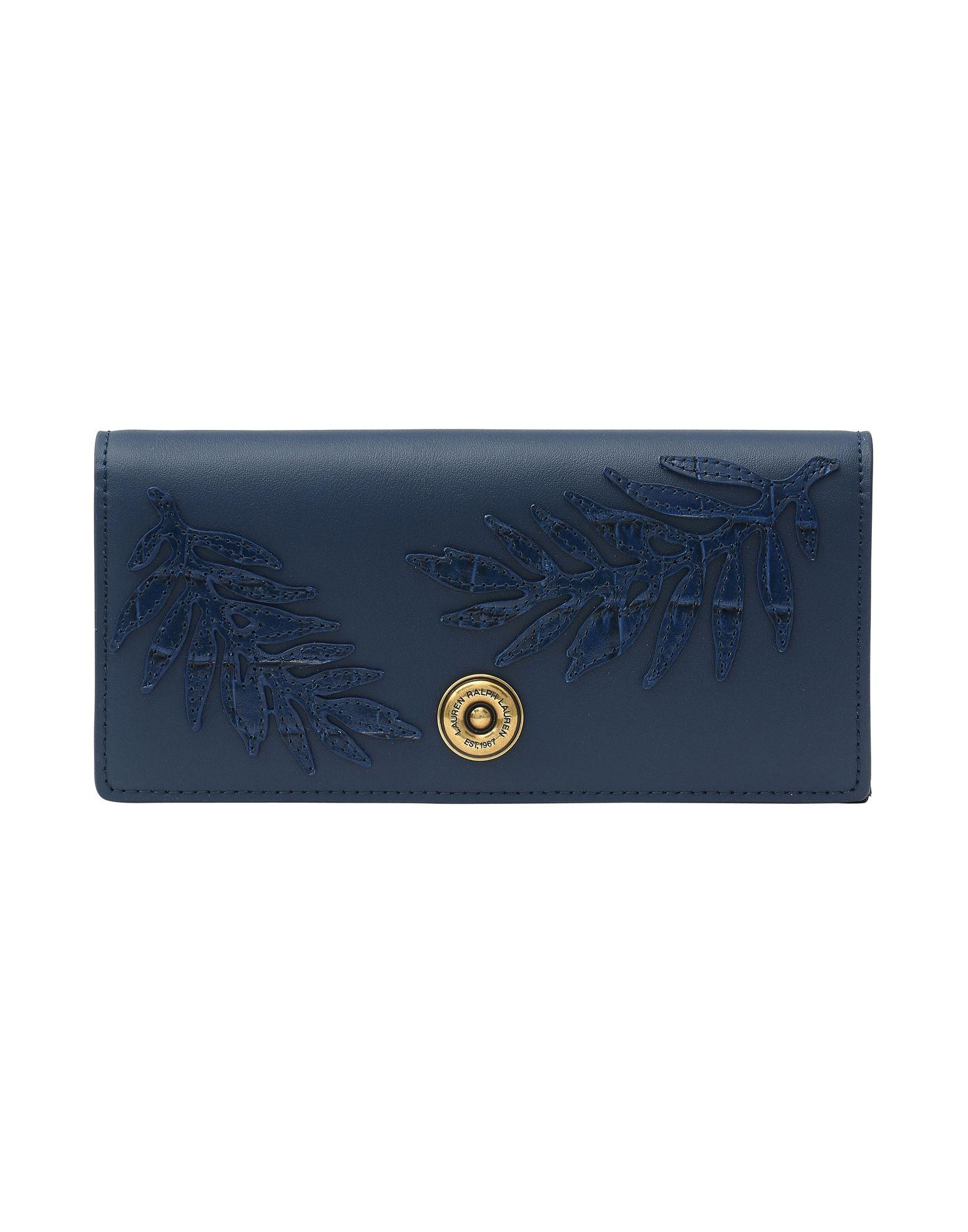 《送料無料》LAUREN RALPH LAUREN レディース 財布 ダークブルー 牛革 100% Flap Continental Wallet