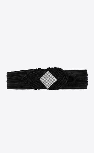 NOUÉE braided belt in black suede with lozenge shape in white crystal