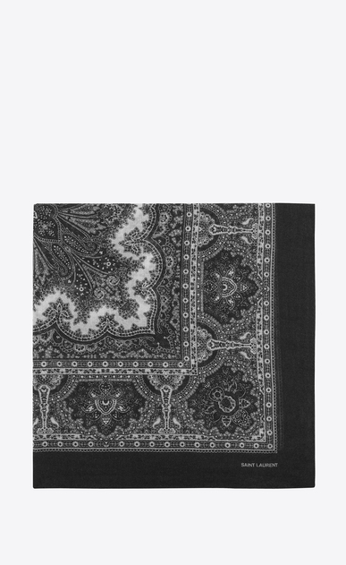 SAINT LAURENT スカーフ カレ レディース Large square scarf in black and white paisley print challis a_V4