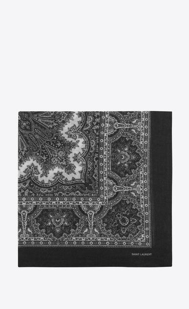 SAINT LAURENT Quadratische Schals Damen Großer, quadratischer Schal aus Challis mit schwarz-weißem Paisleymuster a_V4